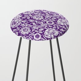 "William Morris Floral Pattern | ""Pink and Rose"" in Purple and White Counter Stool"