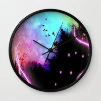 roald dahl Wall Clocks featuring Magic in the Air by Geni