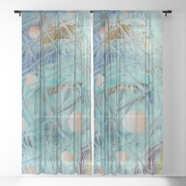 Blue Square and planet Sheer Curtain