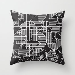 geo numbers black Throw Pillow