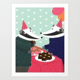Badgers, Brownies & Balloons Art Print
