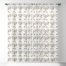 vintage Tennis rackets and ball Sheer Curtain