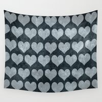 rustic Wall Tapestries featuring Rustic Hearts  by xiari