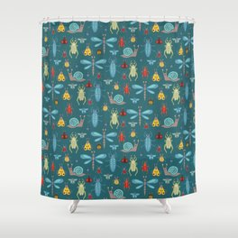 Little Bugs and Mini Beasts on Teal Shower Curtain