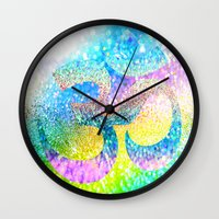 ohm Wall Clocks featuring ohm sparkle by haroulita