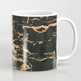 24-Karat Gold Veins on Black Suede Marbled Pattern Coffee Mug