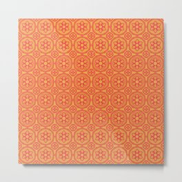 African Tribal Style Hexagon Motif Pattern Red and Orange Metal Print