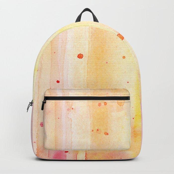 Pink Orange Rain Watercolor Texture Splatters Backpack
