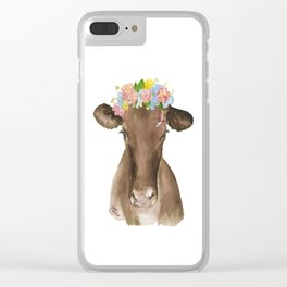 Brown Cow with Floral Wreath Clear iPhone Case