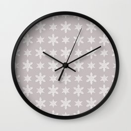 Lacy Mocha Pattern with Creamy Chenille Stars Wall Clock