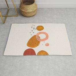 'Lift Off' Earth Tones Neural Warm Colors Fun Space Shapes Yellow Ochre Tan Brown by Ejaaz Haniff Rug