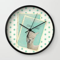 lama Wall Clocks featuring Lama by Monika Strigel