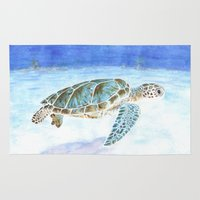 sea turtle Area & Throw Rugs featuring Sea turtle by Savousepate