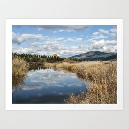 Autumn Pond, Cloud Reflections Art Print