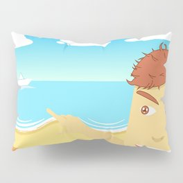 Paper boat on the beach Pillow Sham