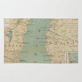 Vintage Lake Michigan Lighthouse Map (1898) Rug