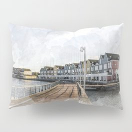 Rainbow Houses. Architectural watercolor and ink drawing Pillow Sham