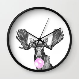 Bubble Gum Moose in Black and White Wall Clock