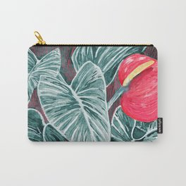 Pop Anthurium Leafs and Flowers Carry-All Pouch