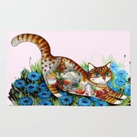 russian Area & Throw Rugs featuring Russian cat by oxana zaika