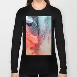 Undertow Meets Lava- Alcohol Ink Painting Long Sleeve T-shirt