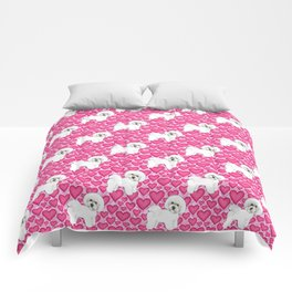 Bichon Frise Valentines Day Hearts in pink and red // Ideal valentines gift for Bichon Mom Comforters