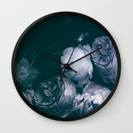 white roses bunch on dark blue painting Wall Clock