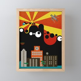 Black Blob Attack Framed Mini Art Print