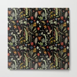 Dark Floral Sketchbook Metal Print
