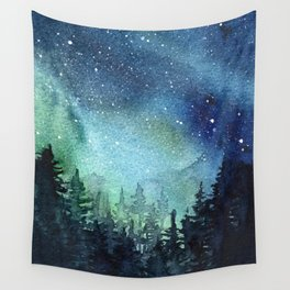 Galaxy Watercolor Aurora Borealis Painting Wall Tapestry