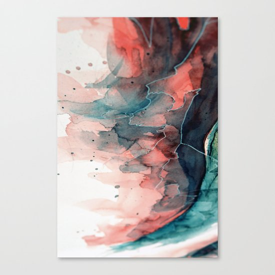 Watercolor dark green & red, abstract texture Canvas Print