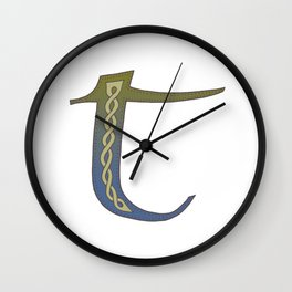 Celtic Knotwork Alphabet - Letter T Wall Clock