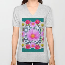Teal Color Art Fuchsia Gerbera Daisy Flowers Pink Roses Patterns Unisex V-Neck