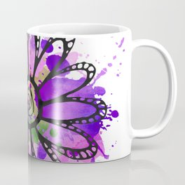 GC031-7 Colorful watercolor doodle flower green and purple Coffee Mug