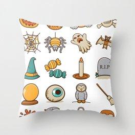 Halloween Icons Throw Pillow