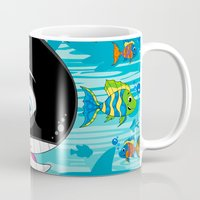 killer whale Mugs featuring Killer Whale & Fish by markmurphycreative