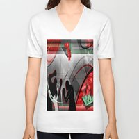 boxing V-neck T-shirts featuring Boxing by Robin Curtiss