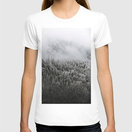 Moody forest in the Fog - Black and White Landscape Photography T-shirt