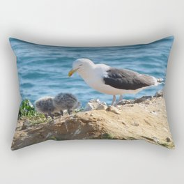 Gull and Two Chicks Rectangular Pillow