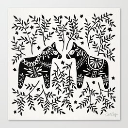 Swedish Dala Horses – Black Palette Canvas Print