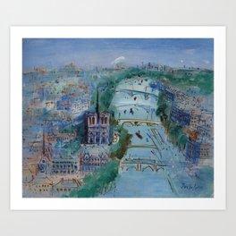River Seine, Paris, France in Moonlight landscape painting wall decor by Jéan Dufy Art Print