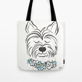 Westie Dog with Turquoise Flowers Bold Tote Bag