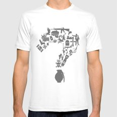 I am asking Why? White MEDIUM Mens Fitted Tee