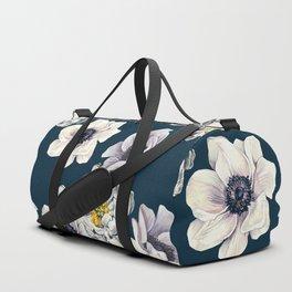 White Flower Rain Duffle Bag