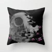 death star Throw Pillows featuring Death Star by Berta Merlotte