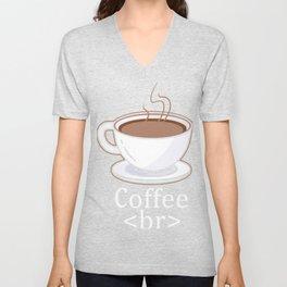 HTML Coffe <br> Break Gift Design Idea for Coders design Unisex V-Neck