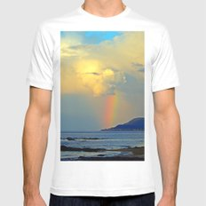 Rainbow on the Coastal Town MEDIUM White Mens Fitted Tee