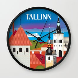 Tallinn, Estonia - Skyline Illustration by Loose Petals Wall Clock