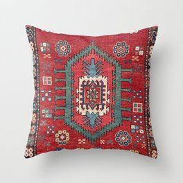 Tribal Honeycomb Palmette IV // 19th Century Authentic Colorful Red Flower Accent Pattern Throw Pillow