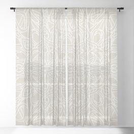 White Lace Mandala on Antique Ivory Linen Background Sheer Curtain